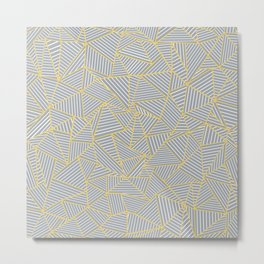 Ab Outline Gold and Grey Metal Print