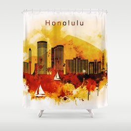 Honolulu Hawaii Red Yellow Skyline Shower Curtain