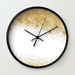 Sparkling golden glitter confetti effect Wall Clock