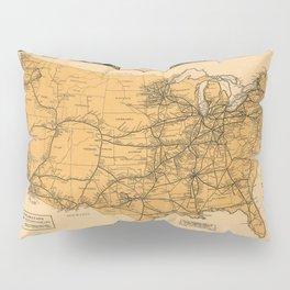 Greyhound Bus Line Map 1935 Pillow Sham