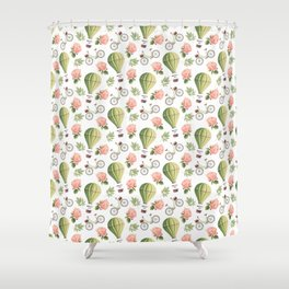 Bicycles Roses and Balloons Pattern Shower Curtain