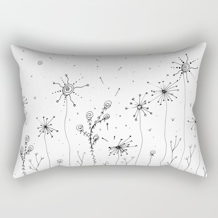Floral Doodle Art Illustration Rectangular Pillow
