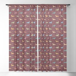 Multicolour Sausage Dog and Hearts Pattern (Maroon Red) Sheer Curtain