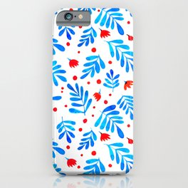 Watercolor branches and flowers - blue and orange iPhone Case