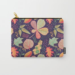 Yellow Leaves On Purple Crayon Drawing, Vibrant Autumn Pattern Carry-All Pouch