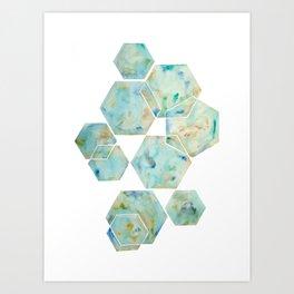 Blue Green Hexagon Arrangement Art Print