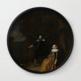 Gerard Dou - Portrait of a Couple in a Landscape Wall Clock