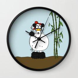Eglantine la poule (the hen) dresses up as a panda Wall Clock