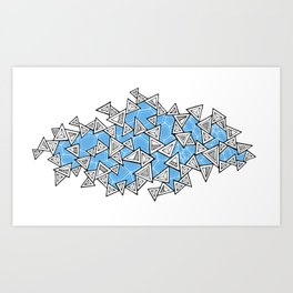 Triangles and Tessellation in Blue Art Print