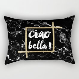 Modern elegant typography Ciao Bella gold leaf black marble Rectangular Pillow