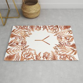 Letter Y - Faux Rose Gold Glitter Flowers Rug