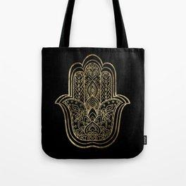 Lotus Gold Hamsa Hand Tote Bag