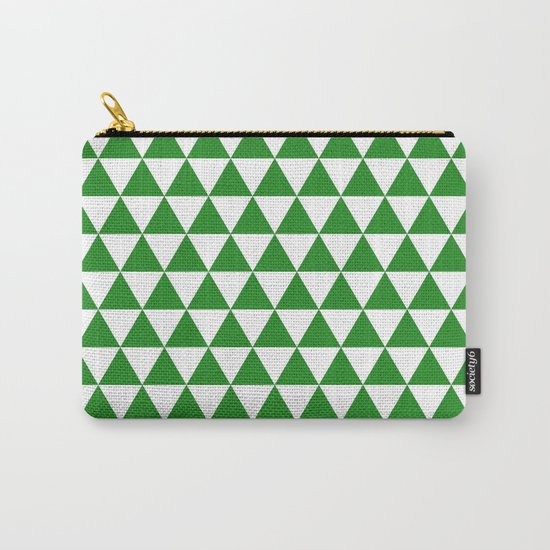 Triangles (Forest Green/White) Carry-All Pouch
