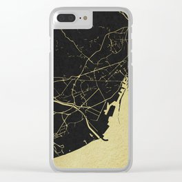 Barcelona Black and Gold Map Clear iPhone Case