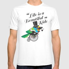 Life is a Beautiful Ride White Mens Fitted Tee MEDIUM