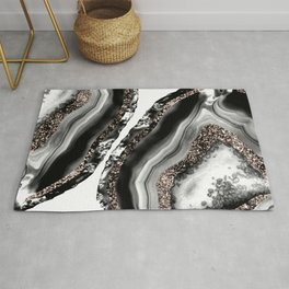 Agate Rose Gold Glitter Glam #3 #gem #decor #art #society6 Rug