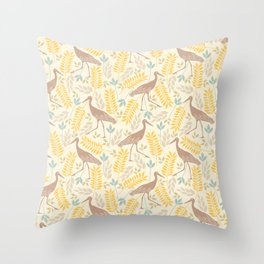 Vintage pastel brown yellow bohemian bird flowers Throw Pillow