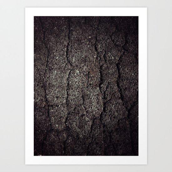 Cracked asphalt road Art Print