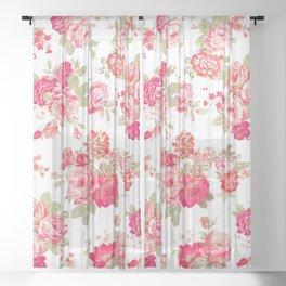 Elise shabby chic on white Sheer Curtain