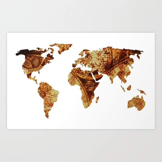 Antique Map of the World Continents Art Print