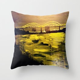 Memphis Skyline at Night Throw Pillow