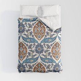 Iznik Tile Pattern Blue White Brown Comforters