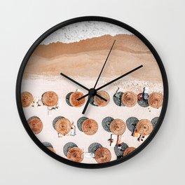 Ocean Print, Beach Print, Aerial Beach Print, Beach Photography, People Umbrellas Art Print Wall Clock