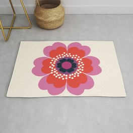 Lightweight - 70s retro throwback floral flower art print minimalist trendy 1970s style Rug