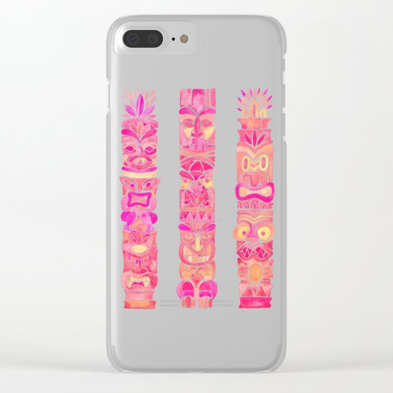 Tiki Totems – Pink Palette Clear iPhone Case
