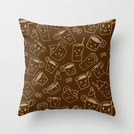 Coffee illustration pattern Throw Pillow