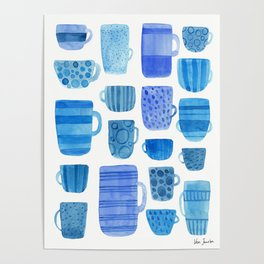 Blue Cups and Mugs - Watercolor Poster