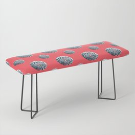pine cone pattern in coral, aqua and indigo Bench