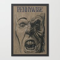 pennywise Canvas Prints featuring Pennywise / IT (DRAWLLOWEEN 25/31) by pakowacz