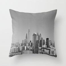 Black and White Philadelphia Skyline Throw Pillow