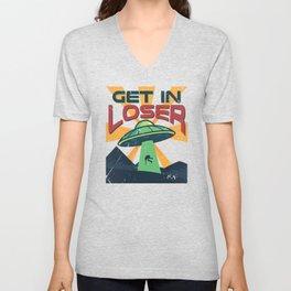 Get In Loser Vintage Alien UFO Stuff Alien Lovers Gift design Unisex V-Neck