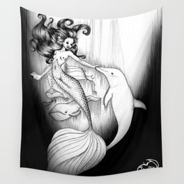 Playful Mermaid Wall Tapestry