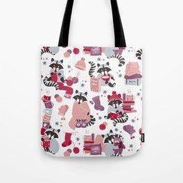 Hygge raccoon // white background Tote Bag