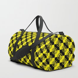 Yellow and Black Smiley Face Check Duffle Bag