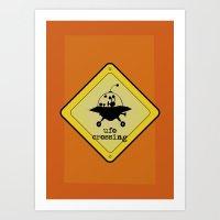 UFO crossing sign Art Print