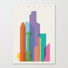 Shapes of Seattle accurate to scale Canvas Print