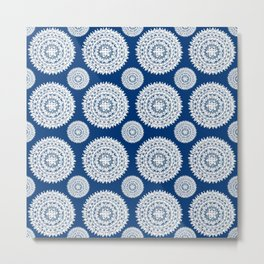 Silver and Navy Mandalas Metal Print