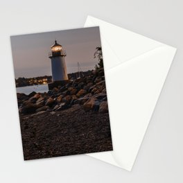 Lighthouse at night Stationery Cards