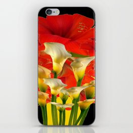 RED FLORALS & YELLOW CALLA LILIES BLACK ART iPhone Skin