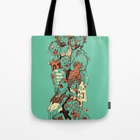 zombies Tote Bags featuring Zombies by SarahRobbins