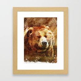 Rustic Grizzly Fine Art Print Framed Art Print