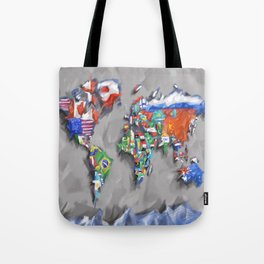 world map with flags Tote Bag
