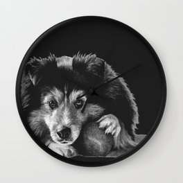 """Black and white puppers """"Curious"""" Wall Clock"""