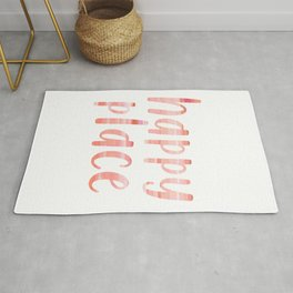 Happy Place | Motivational Coral Blush Painting Colored Typography Rug