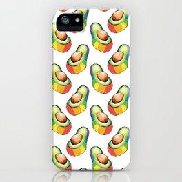 rainbow avocado pattern iPhone Case