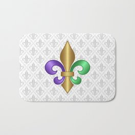 Purple Green and Gold Fleur-de-Lis on Gray Pattern Bath Mat